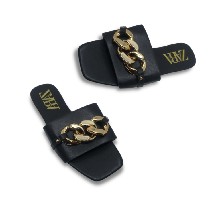 ZVRA Flats with Gold Chain